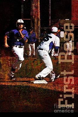 Baseball Players Mixed Media - First Base by John Turek