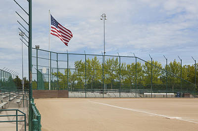 First Base Line On A Baseball Pitch Art Print