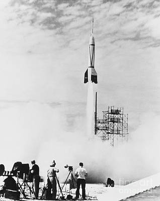 Corporal Rocket Photograph - First Cape Canaveral Launch by Science Source