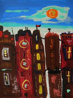 Primitive Drawing - First Day Of Autumn City by Mary Carol Williams