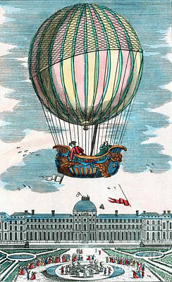 First Hydrogen Balloon Flight, 1783 Art Print by Science Source