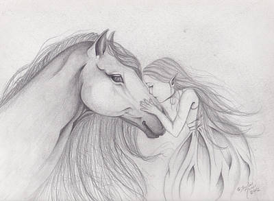 Wiccan Drawing - First Kiss by Lorelei  Marie