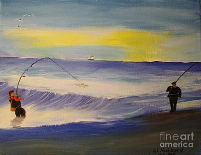 Painting - First Light First Wave First Fish by Bill Hubbard