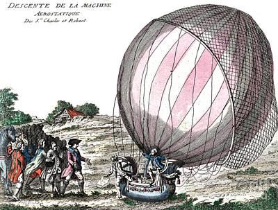 First Manned Hydrogen Balloon Flight Art Print by Photo Researchers