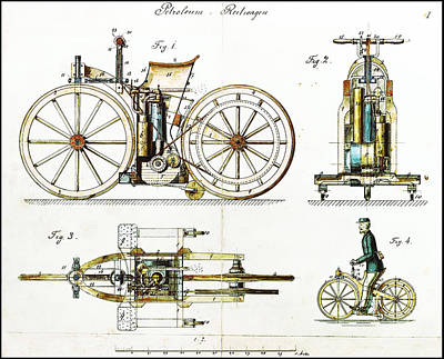 Biker Photograph - First Motorcycle Patent - Daimler Reitwagen by Bill Cannon