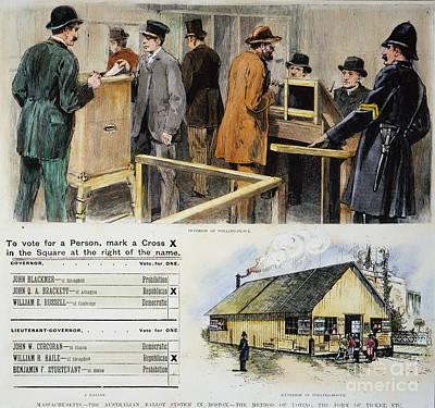 Ballot Wall Art - Photograph - First Secret Ballot, 1889 by Granger