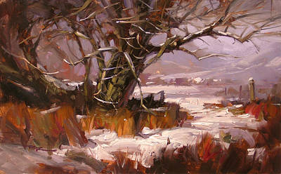 Richard Robinson Painting - First Snow by Richard Robinson