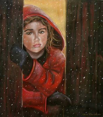 Art Print featuring the painting First Snow by Susan Elise Shiebler