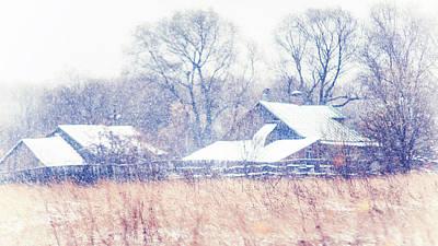 First Snow. Village Art Print by Jenny Rainbow