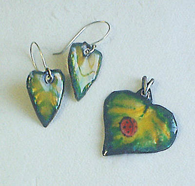Enamel On Copper Jewelry - First Spring Leaves by Asya Ostrovsky