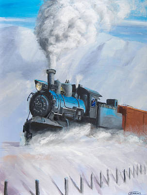 Snow Scene Painting - First Train Through by Christopher Jenkins