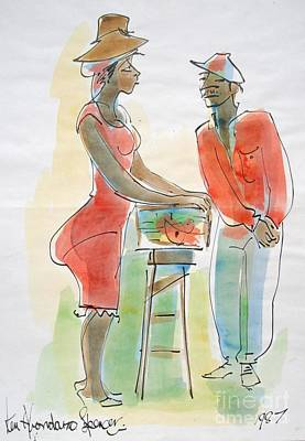 Haitian Painting - Fish And Bammy by Carey Chen
