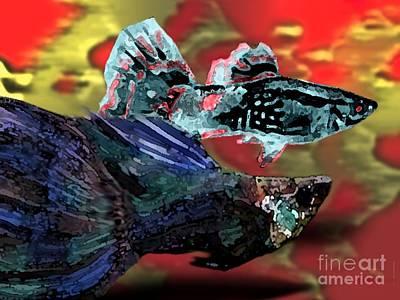 Close-up Digital Art - Fish In Digital Art by Mario Perez