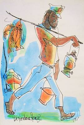 Barbados Painting - Fish Man by Carey Chen