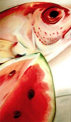 Watermelon Drawing - Fish Out Of Watermelon by Joan Pollak