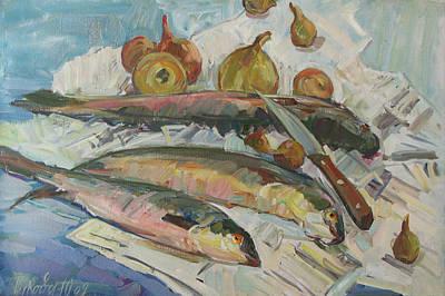 Still Life With Fish Painting - Fish Soup by Juliya Zhukova