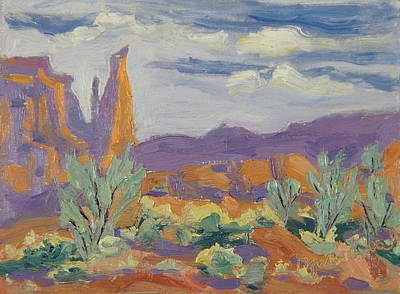 Painting - Fisher Tower Study Castle Valley Moab Utah by Zanobia Shalks