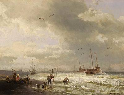 Painting - Fisherfolk On The Beach by Pg Reproductions