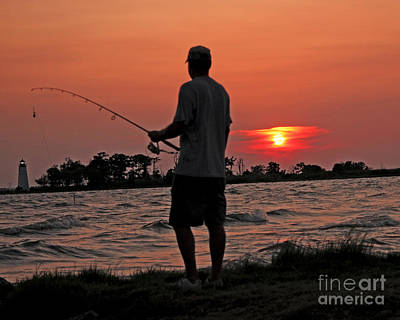 Art Print featuring the photograph Fisherman And Lighthouse Sunset by Luana K Perez