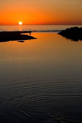 Fisherman At Sunset On Lake Michigan Art Print by Twenty Two North Photography