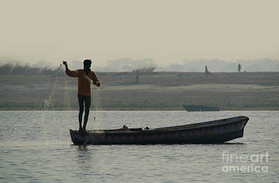 Cremation Ghat Photograph - Fisherman Casting Nets by Serena Bowles