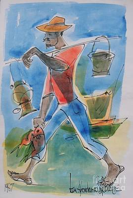 Haitian Painting - Fisherman by Carey Chen