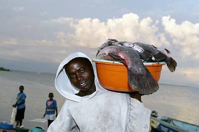 Fish Bowl Photograph - Fisherman, Lake Victoria, Kenya by Volker Steger