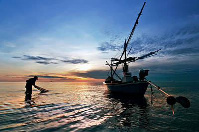 Photograph - Fisherman Life Huahin Thailand by Arthit Somsakul