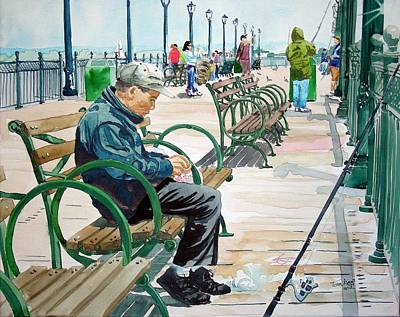 Art Print featuring the painting Fisherman San Francisco by Tom Riggs