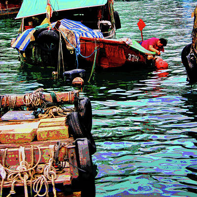 Hong Kong Mixed Media - Fisherman Working In His Dingy by Les Mayers