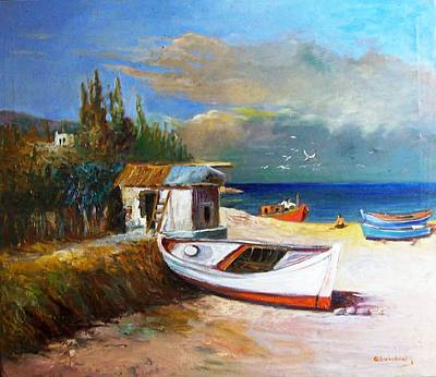 Painting - Fisherman's Cottage by George Siaba