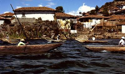 Digital Art - Fishermen On Lake Patzcuaro  Mexico by Jim Pavelle
