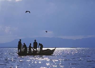 Fishermen Pulling Fishing Nets On Small Art Print