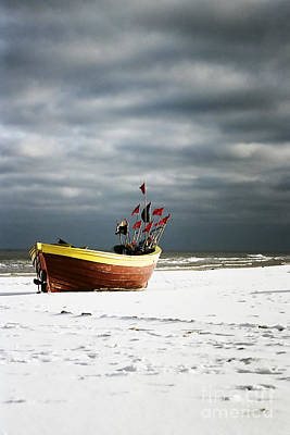 Print featuring the photograph Fishermen's Boat On Snowy Beach by Agnieszka Kubica