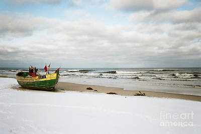 Print featuring the photograph Fishermen's Boat Waiting On A Beach by Agnieszka Kubica