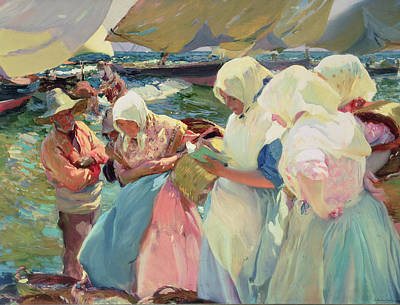 Market Day Painting - Fisherwomen On The Beach by Joaquin Sorolla y Bastida