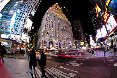 Popstar And Musician Paintings Royalty Free Images - Fisheye view of TImes Square Royalty-Free Image by Sven Brogren