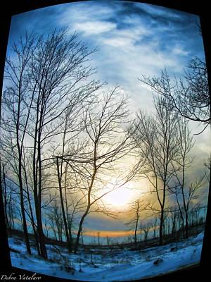 Snowy Day Mixed Media - Fisheye Winter Landscape by Debra     Vatalaro