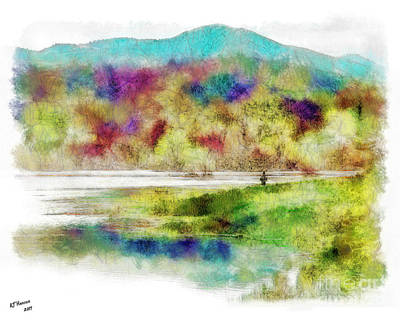 Fishing - Watson Lake Art Print