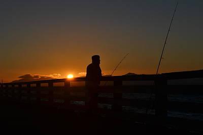 Fishing And Sunset  Art Print by Saifon Anaya