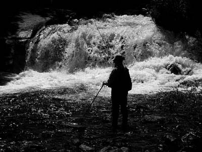 Waterfall Photograph - Fishing At The Falls by Phil Stone