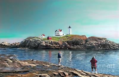 Fishing At The Nubble Lighthouse Art Print by Earl Jackson