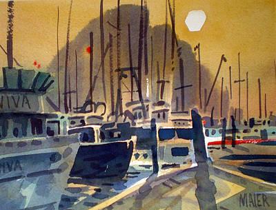 Fishing Boasts On Moro Bay Art Print by Donald Maier