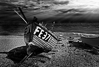 Wooden Boat Photograph - fishing boat FE371 by Meirion Matthias