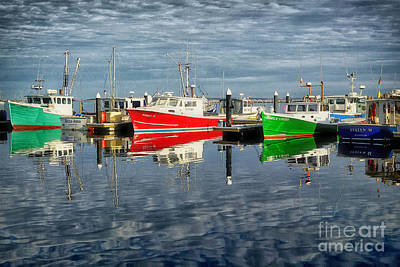 Fishing Boat Reflections At Macmillan Pier In Provincetown Cape  Art Print by Matt Suess