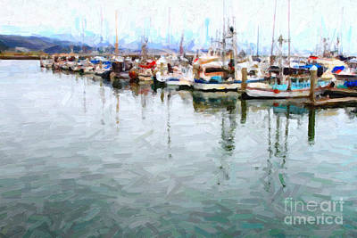 Fishing Boats At The Dock . 7d8187 Art Print by Wingsdomain Art and Photography