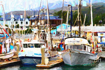 Fishing Boats At The Dock . 7d8213 Art Print by Wingsdomain Art and Photography