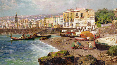 People On Beach Wall Art - Painting - Fishing Boats On The Beach At Marinella Naples by Carlo Brancaccio