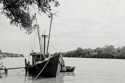 White River Scene Photograph - Fishing Bumboat by Photo Copyright of Love Image Lab (by Sim Chin Ping)