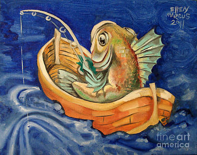 Fishing Pole Painting - Fishing Fish by Ellen Marcus